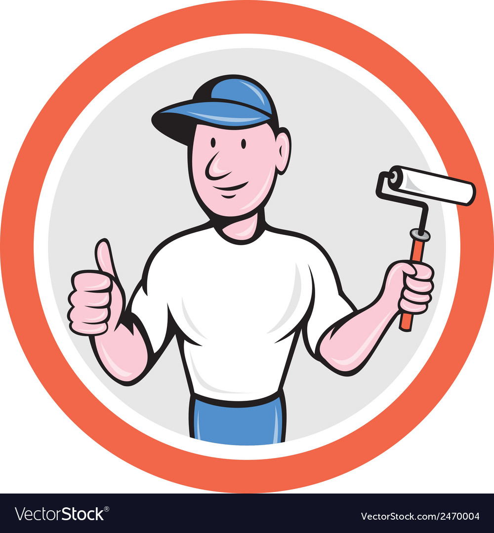 House painter paint roller thumbs up cartoon vector | Price: 1 Credit (USD $1)