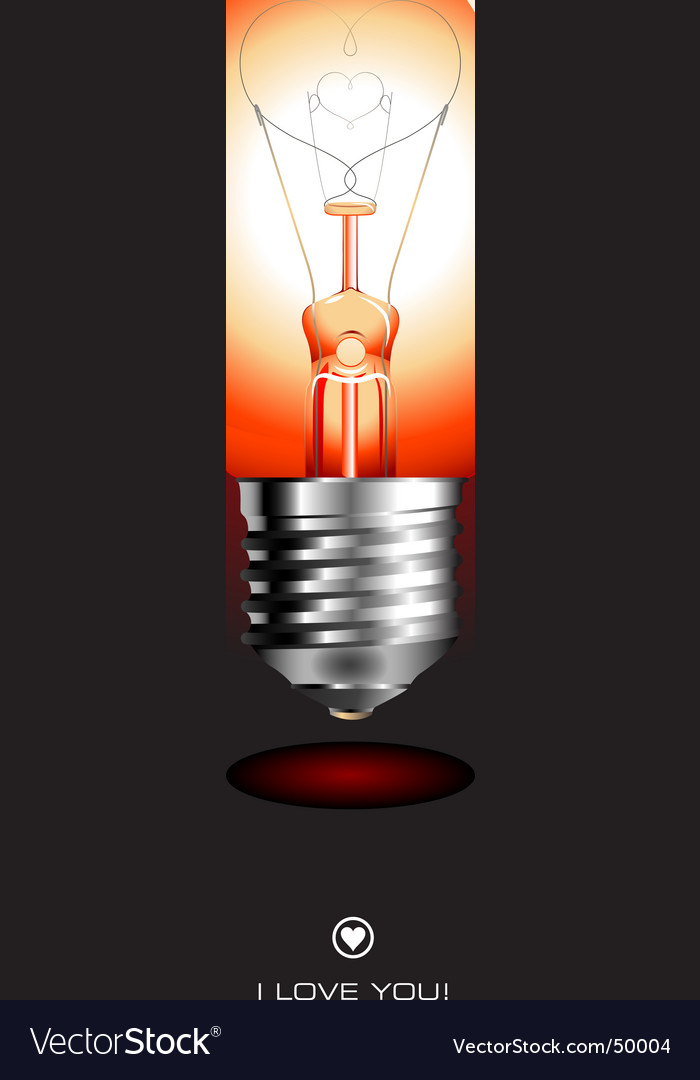 Light bulb with heart vector | Price: 3 Credit (USD $3)