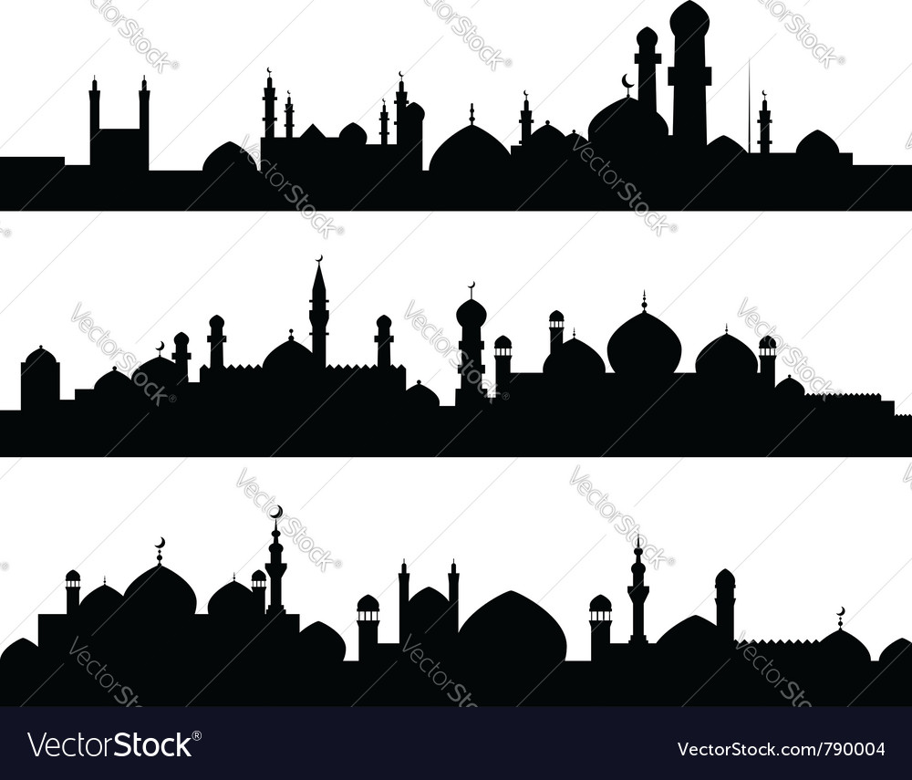 Muslim cities silhouettes vector | Price: 1 Credit (USD $1)