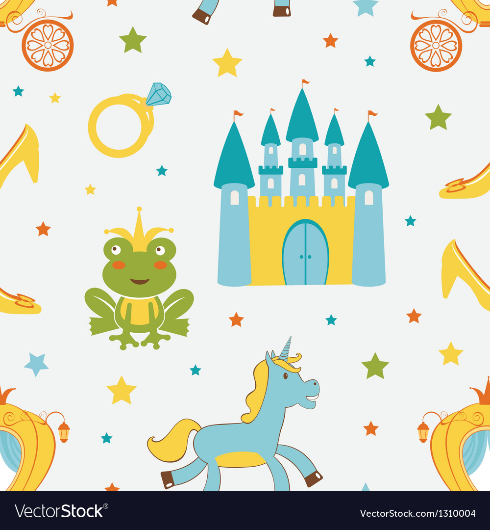 Princess frog pattern vector | Price: 1 Credit (USD $1)
