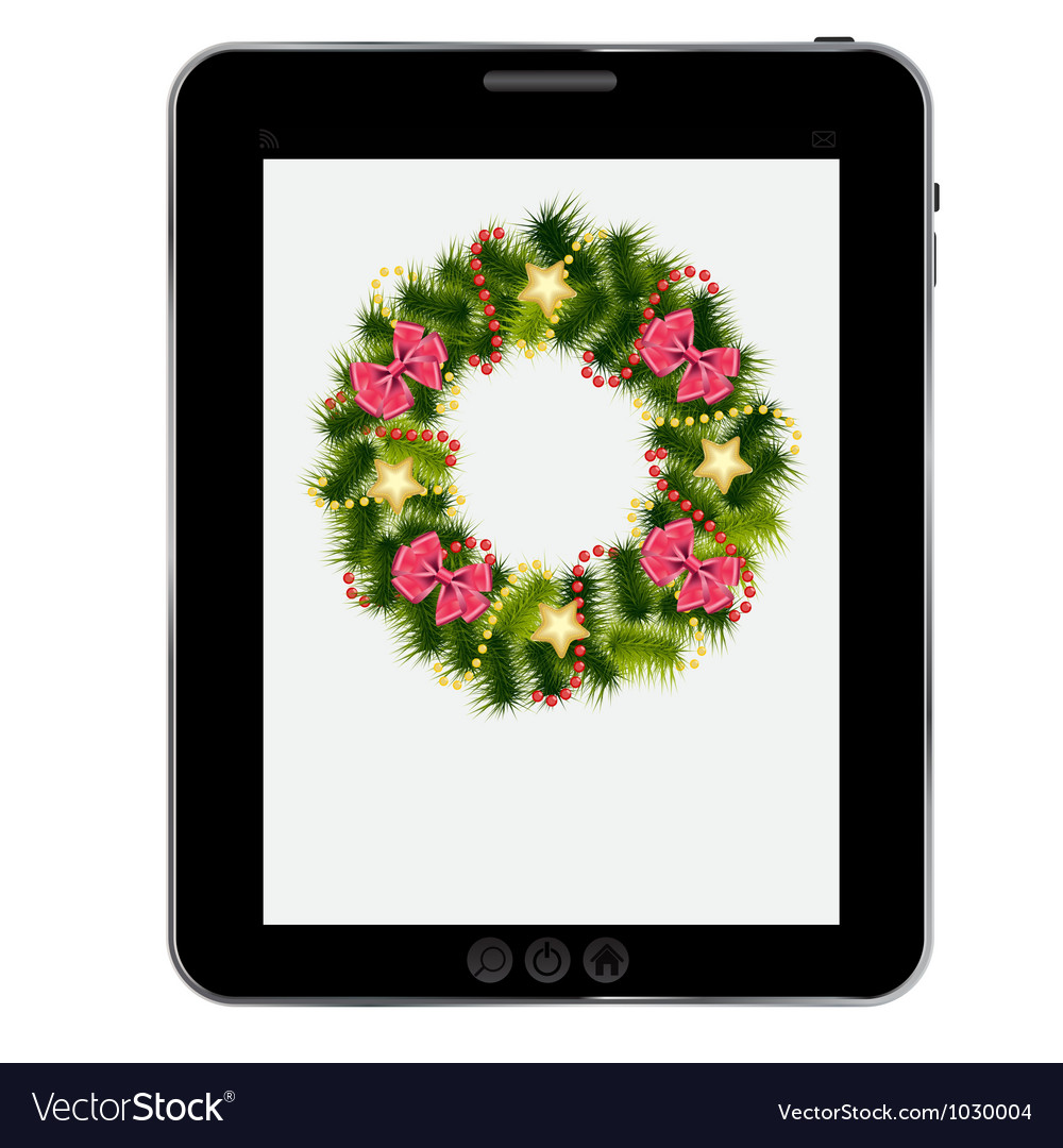 Realistic christmas wreath on vintage background vector | Price: 1 Credit (USD $1)