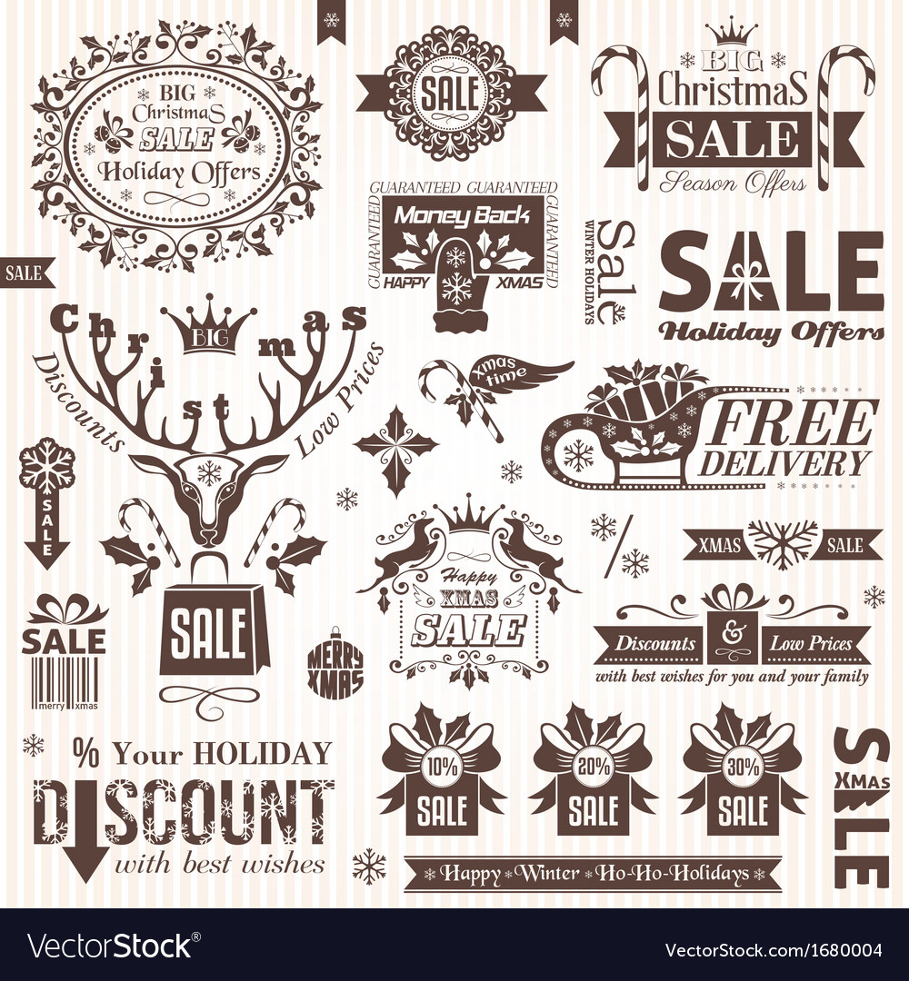 Set of christmas sale decorative elements vector | Price: 1 Credit (USD $1)