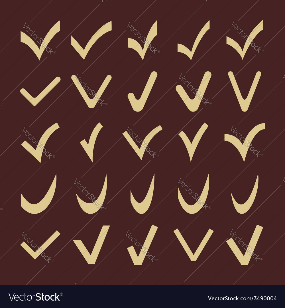 Set of fine different check marks vector | Price: 1 Credit (USD $1)