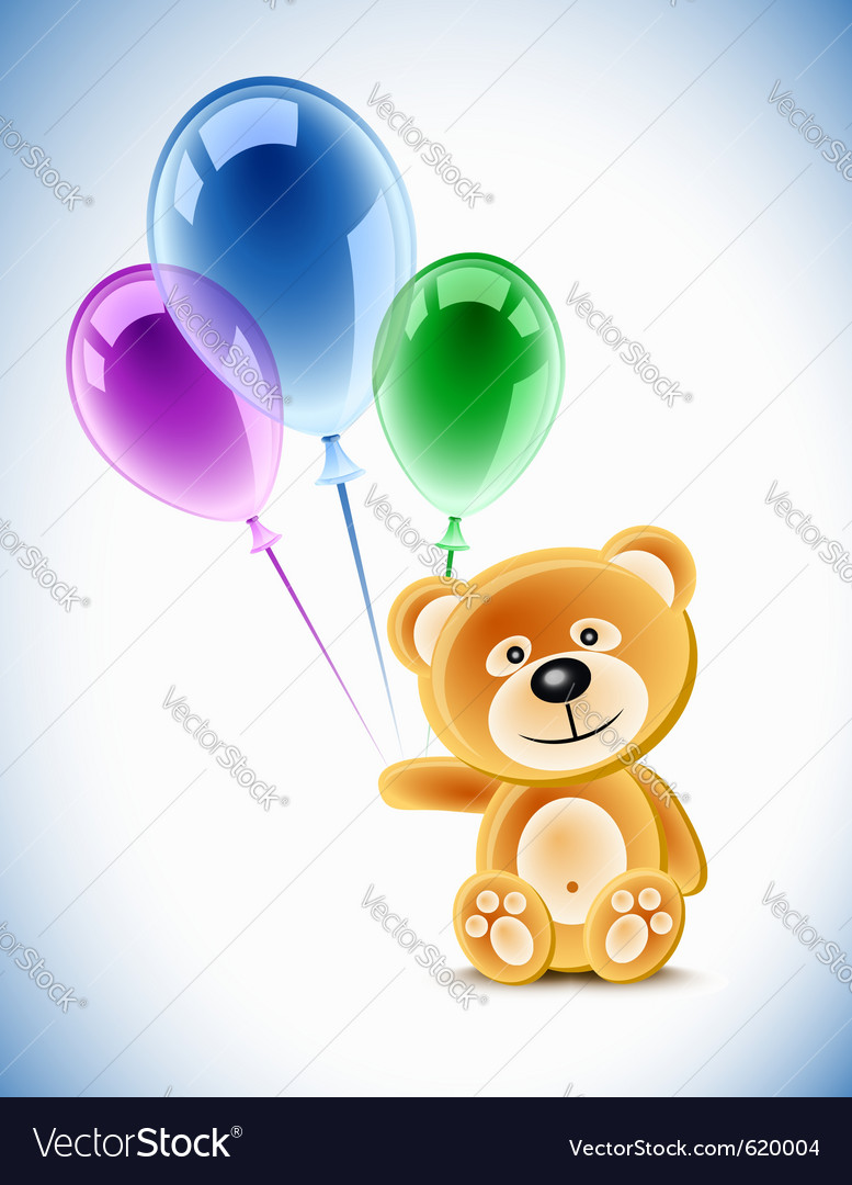 Teddybear holding transparent balloons vector | Price: 1 Credit (USD $1)