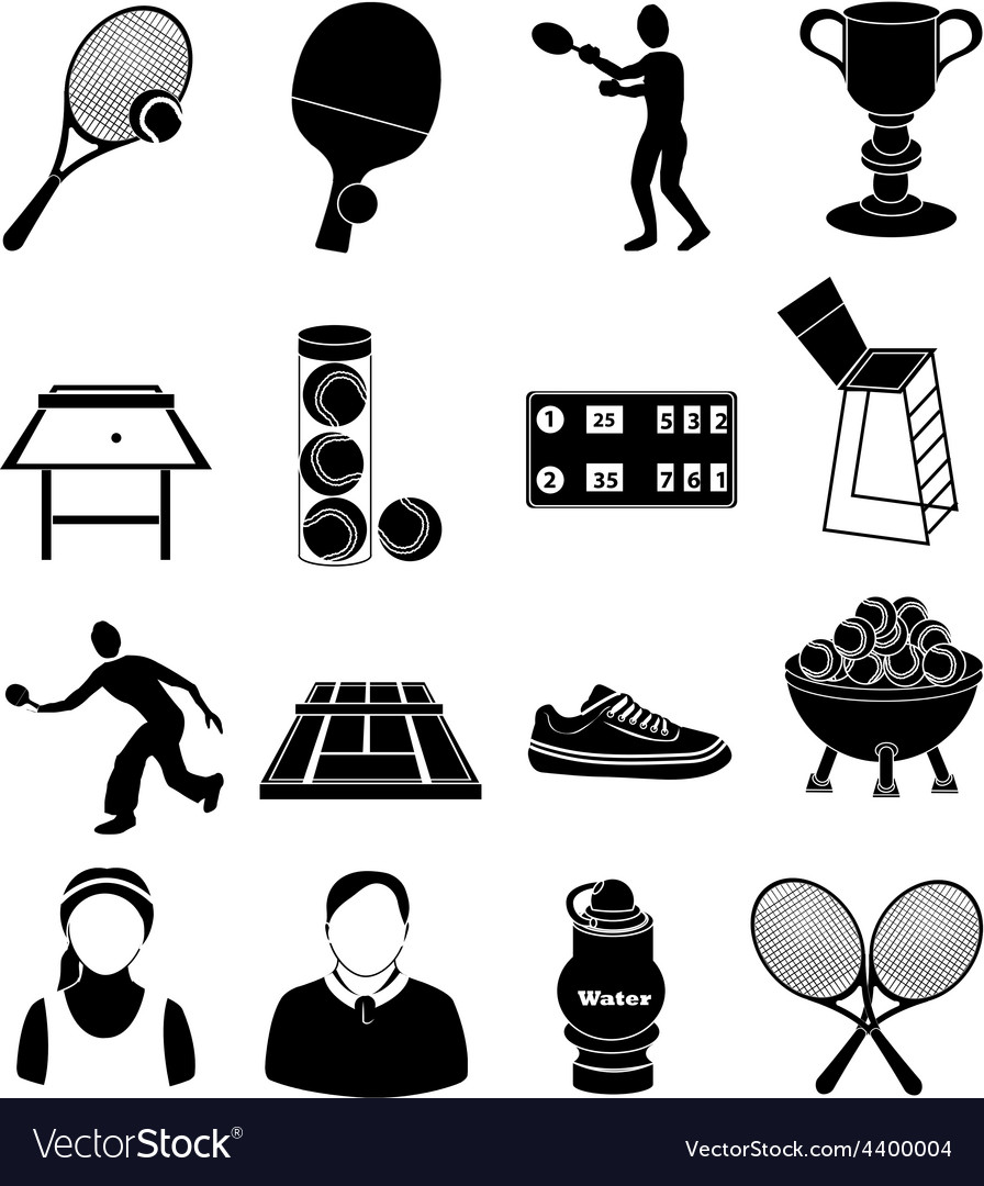 Tennis icons set vector | Price: 1 Credit (USD $1)