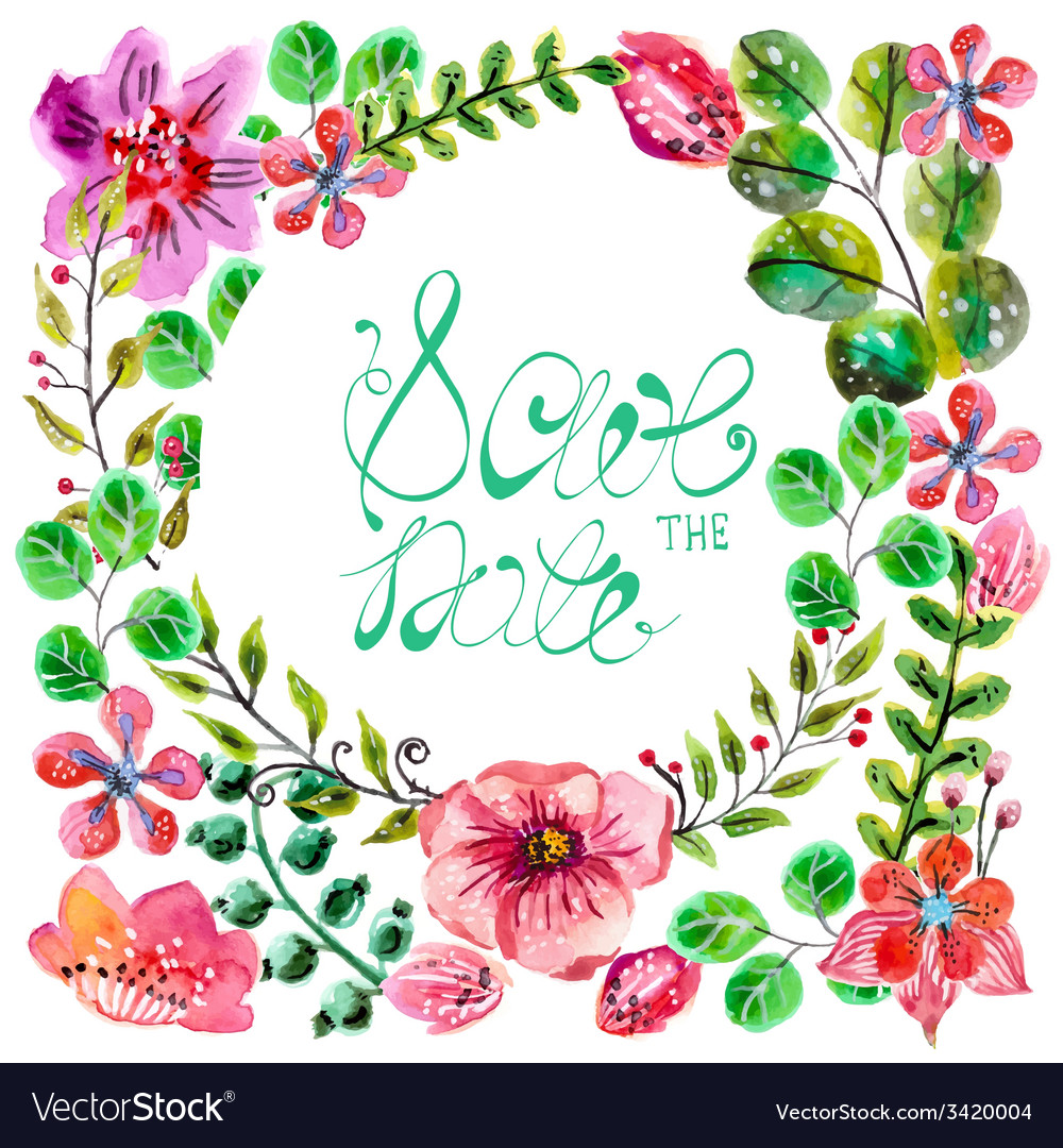 Watercolor floral frame for wedding invitation vector | Price: 1 Credit (USD $1)
