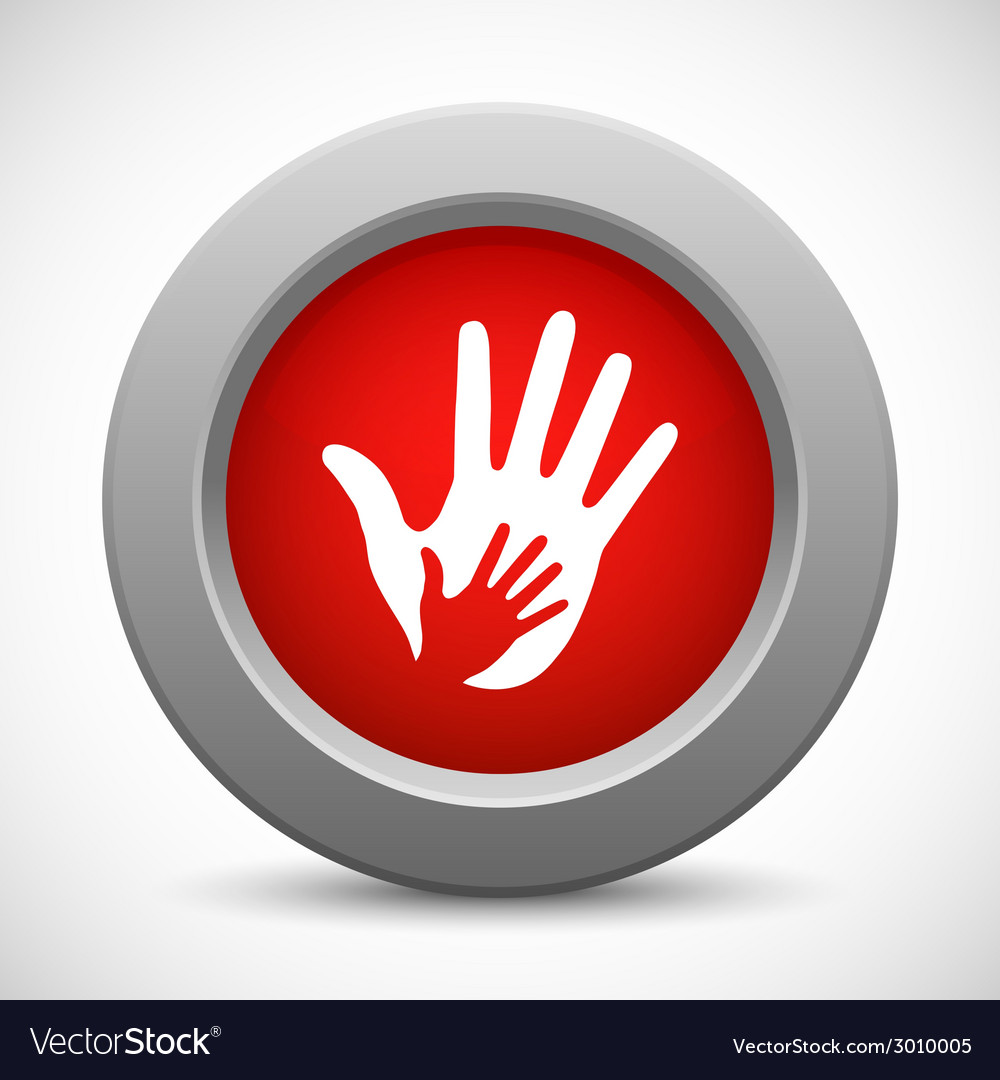 Caring hands red button vector   Price: 1 Credit (USD $1)