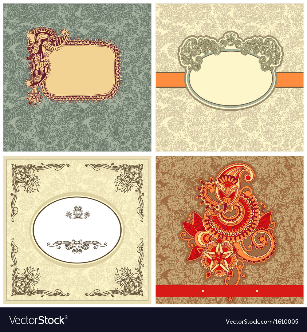 Collection of ornate vintage template vector | Price: 1 Credit (USD $1)