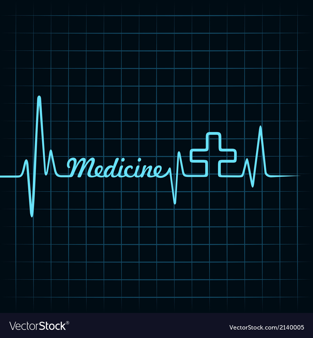Heartbeat make medicine word and plus symbol vector | Price: 1 Credit (USD $1)