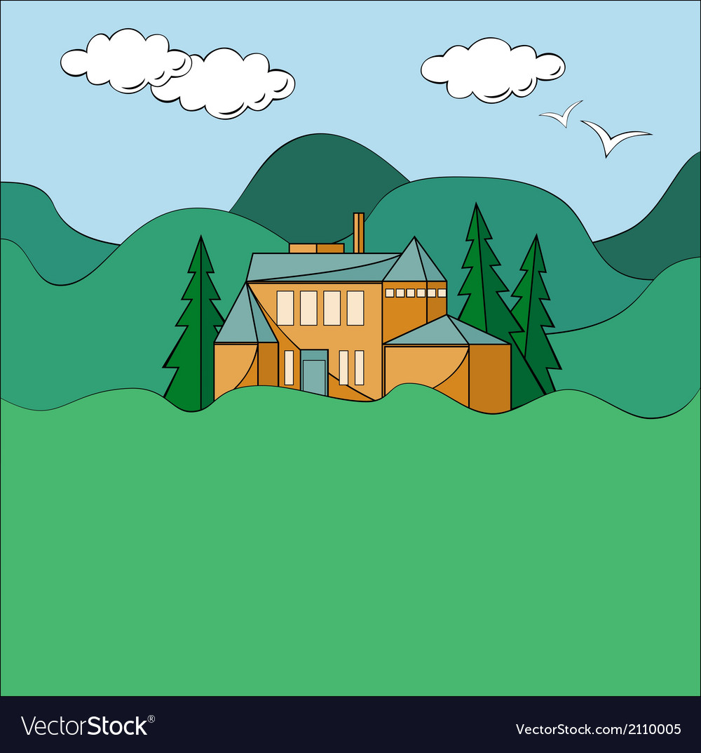 House in mountains vector | Price: 1 Credit (USD $1)