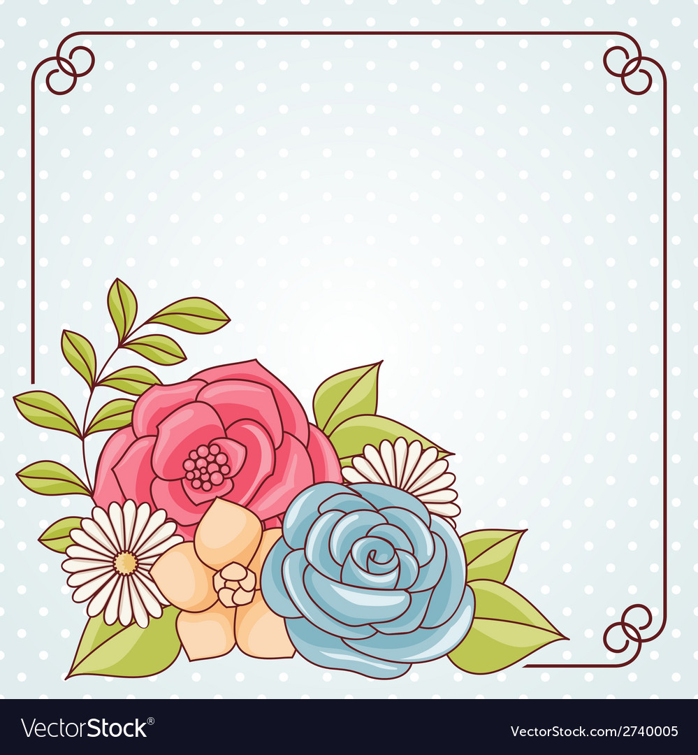 Invitation card with flowers vector | Price: 1 Credit (USD $1)