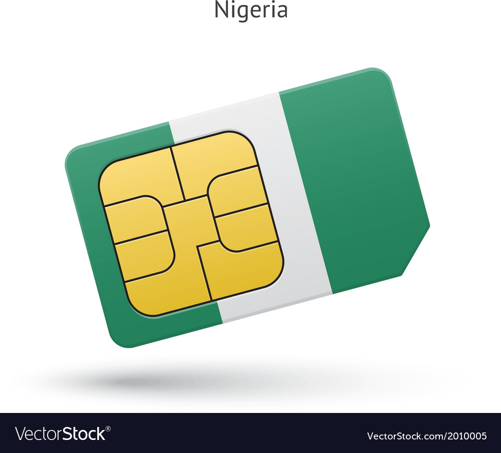 Nigeria mobile phone sim card with flag vector | Price: 1 Credit (USD $1)