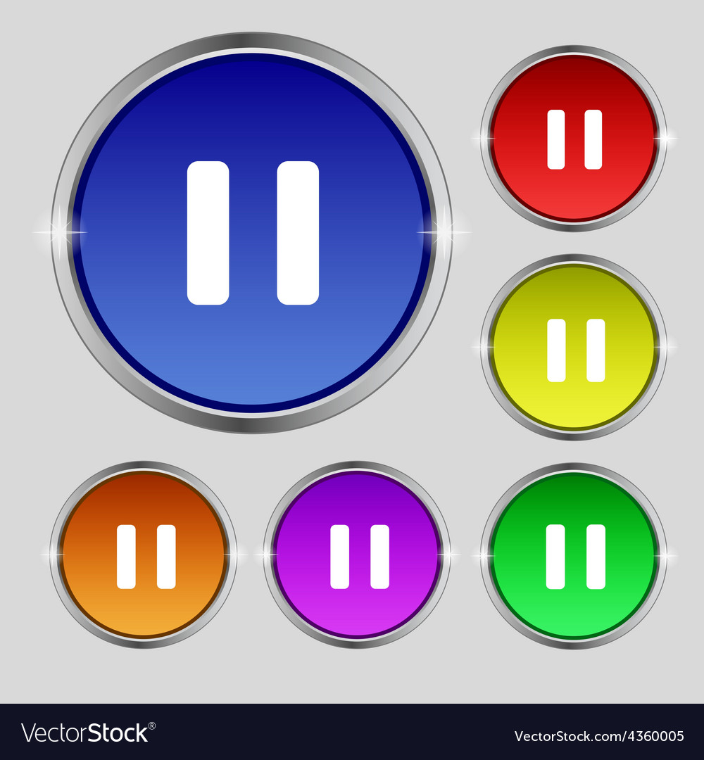 Pause icon sign round symbol on bright colourful vector | Price: 1 Credit (USD $1)