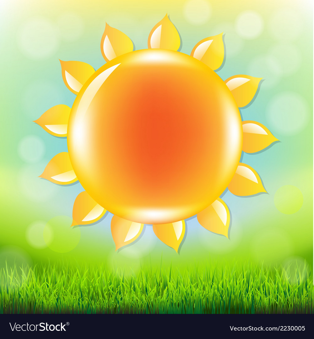 Summer time poster with grass vector | Price: 1 Credit (USD $1)