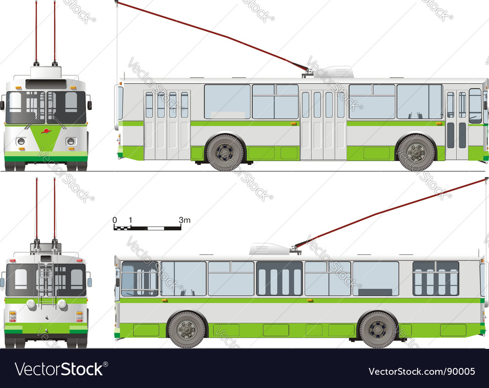 Urban trolleybus isolated vector | Price: 3 Credit (USD $3)
