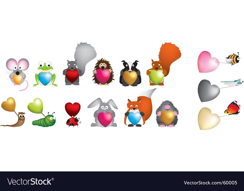 Wildlife hearts vector | Price: 1 Credit (USD $1)