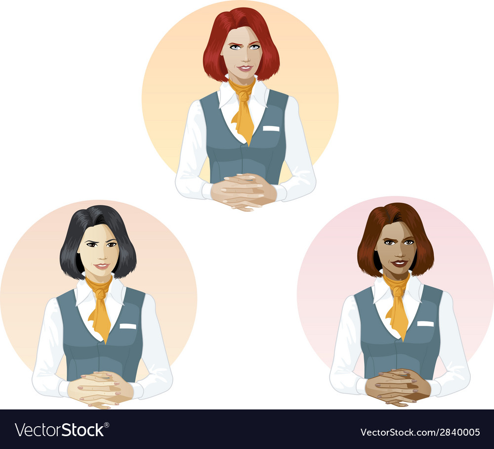 Woman in air hostess uniform support expert vector | Price: 1 Credit (USD $1)
