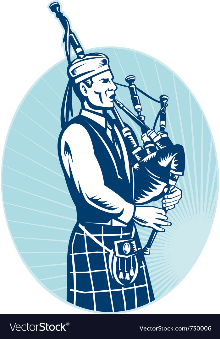 Bagpiper playing scottish bagpipes vector | Price: 3 Credit (USD $3)