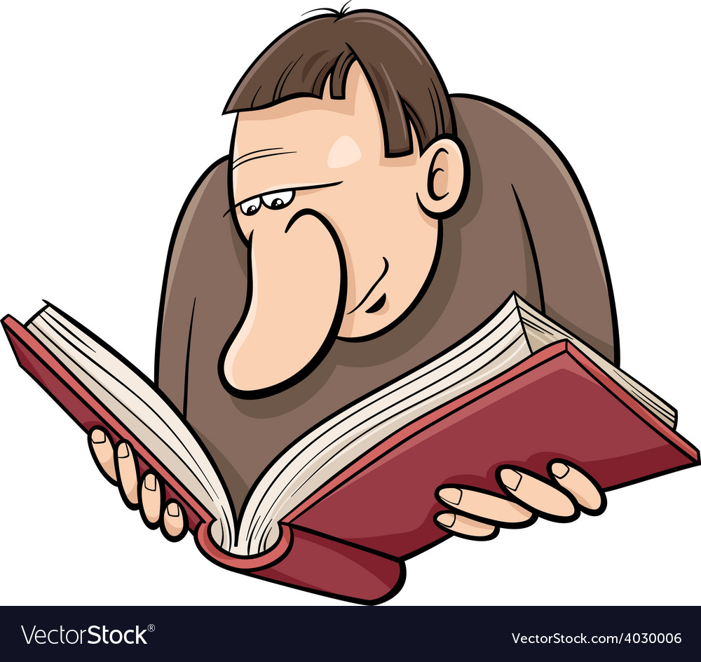 Book reader cartoon vector | Price: 1 Credit (USD $1)