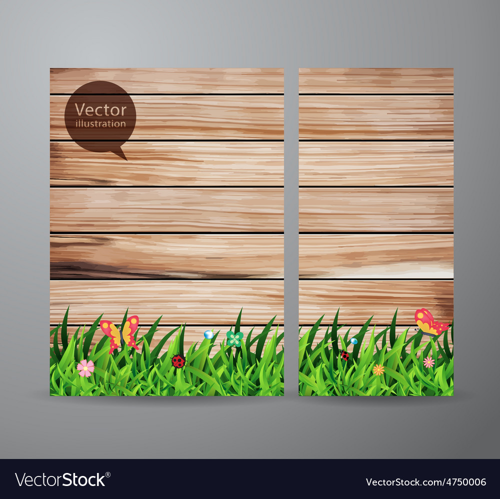 Brochure business green grass over wood fence vector | Price: 3 Credit (USD $3)