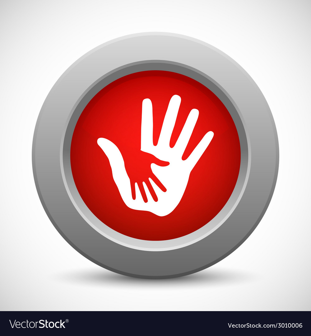Caring hands red button vector | Price: 1 Credit (USD $1)