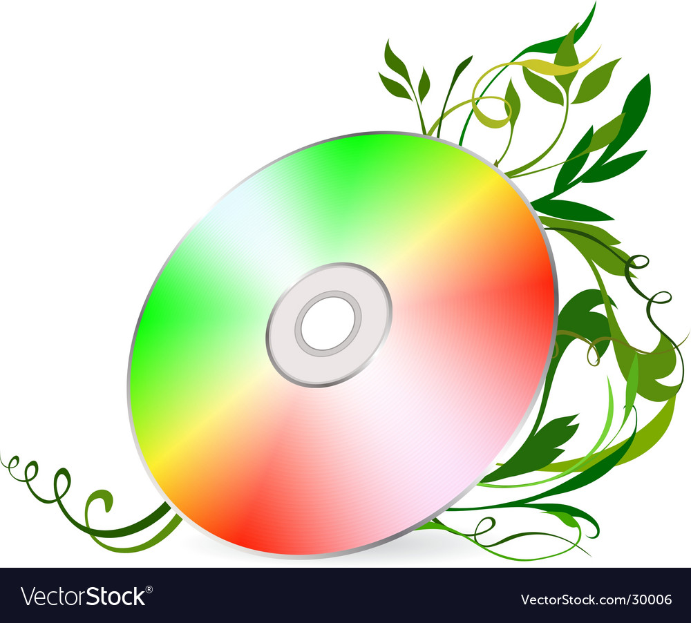 Cd-disk on floral background vector   Price: 1 Credit (USD $1)