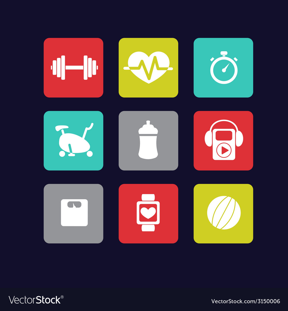 Fitness icons white vector | Price: 1 Credit (USD $1)