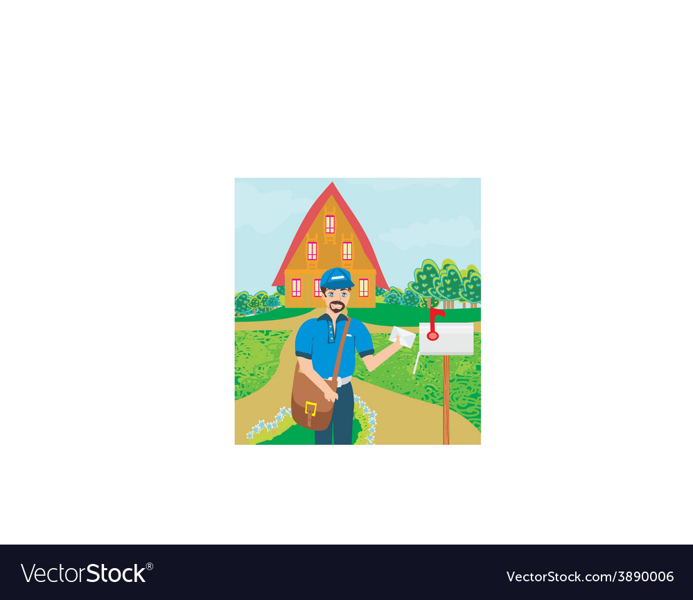 Happy postman vector | Price: 1 Credit (USD $1)