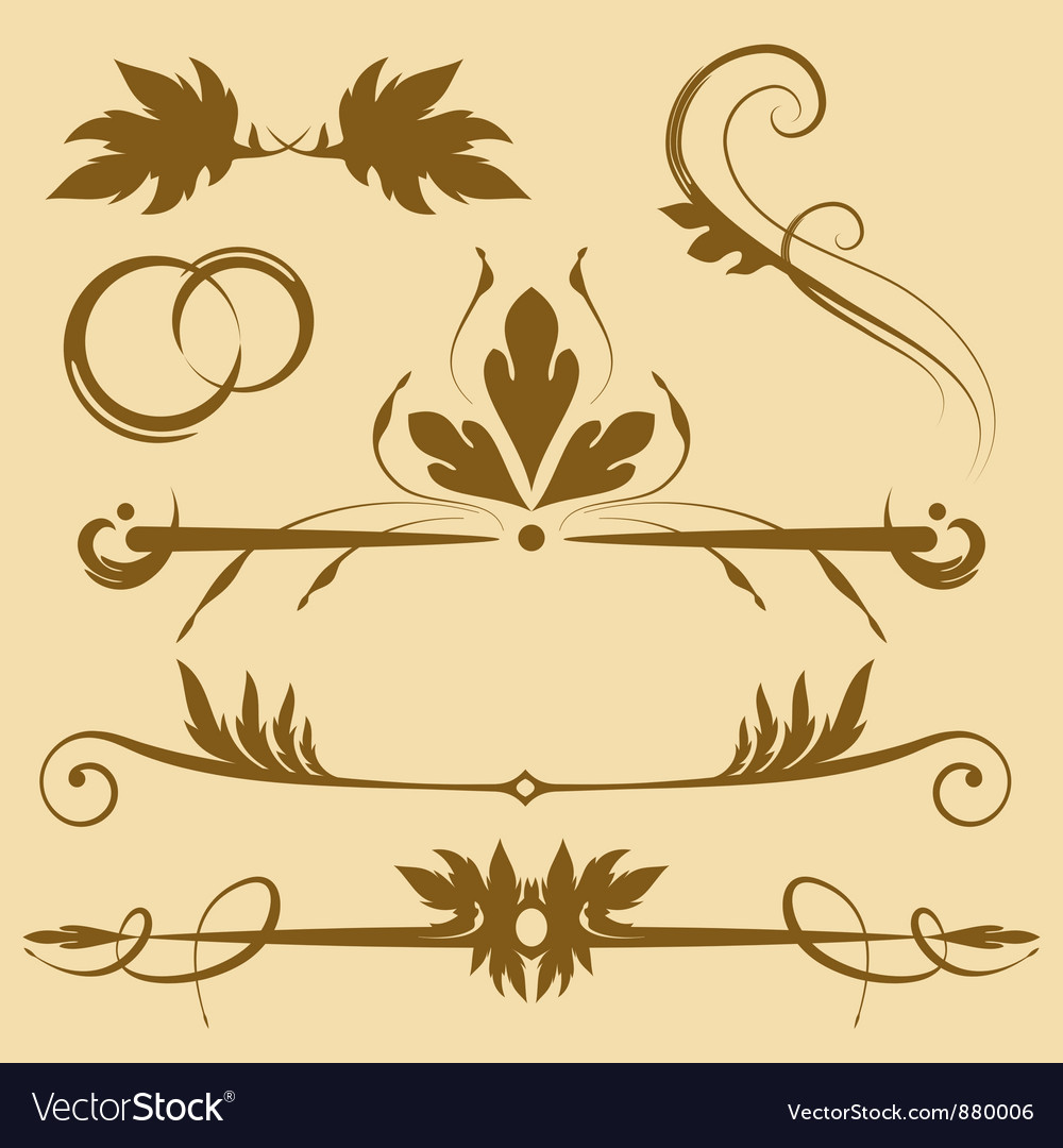 Leafy design elements vector | Price: 1 Credit (USD $1)