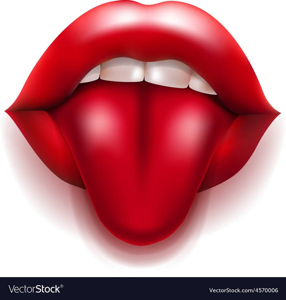 Mouth with red lips and tongue vector | Price: 3 Credit (USD $3)