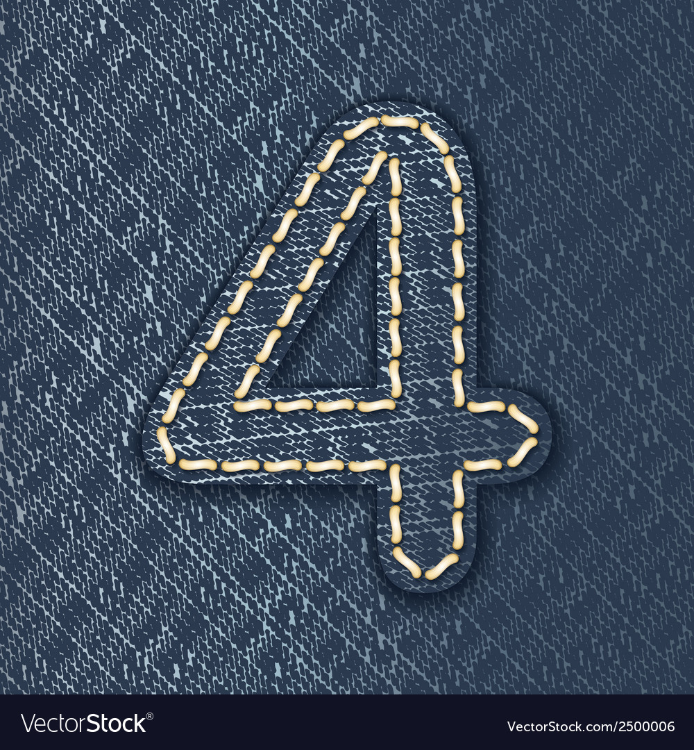 Number 4 made from jeans fabric vector | Price: 1 Credit (USD $1)