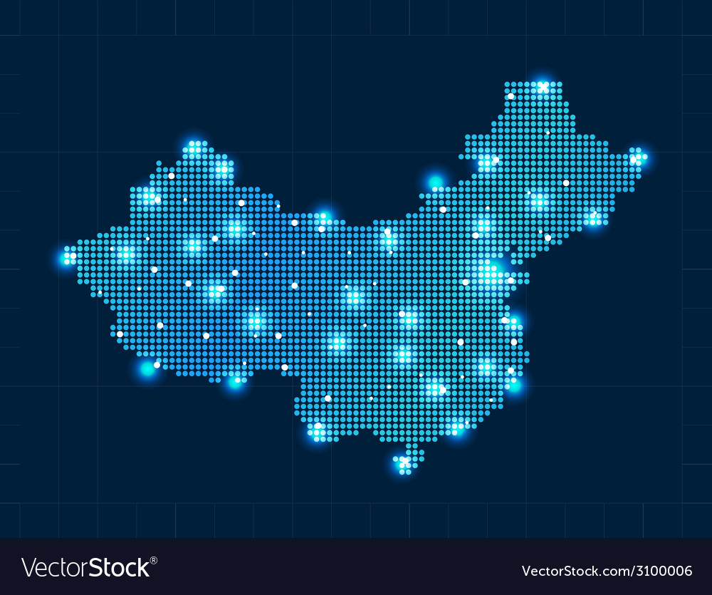 Pixel china map with spot lights vector | Price: 1 Credit (USD $1)