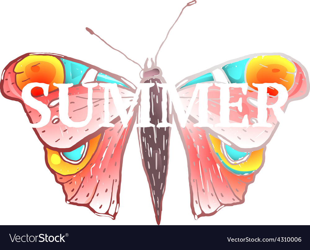 Red colorful butterfly with summer sign vector | Price: 1 Credit (USD $1)