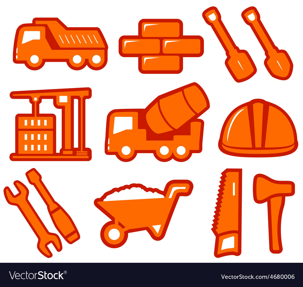 Set industrial tools isolated icons vector | Price: 1 Credit (USD $1)