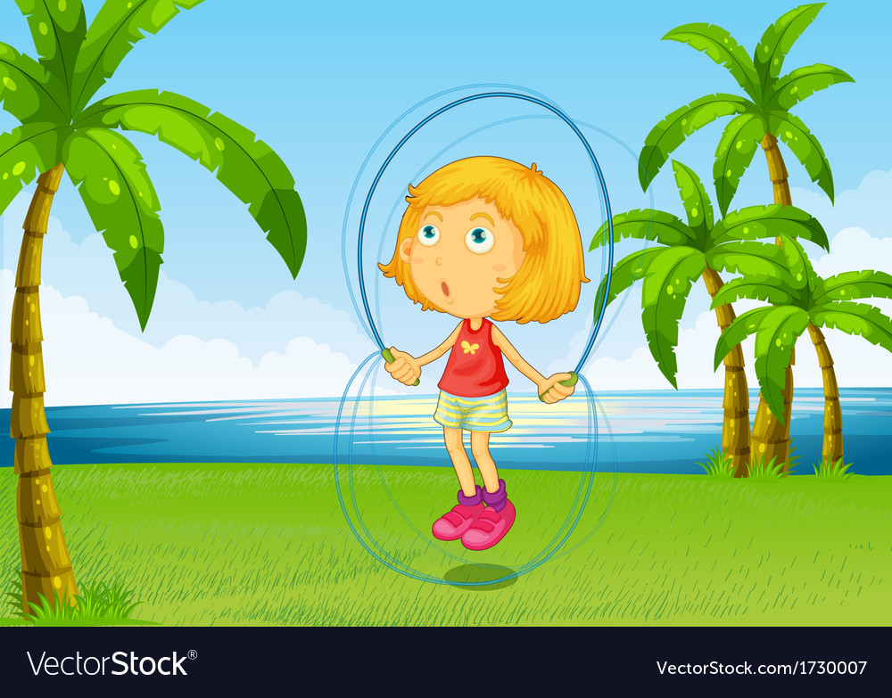 A girl playing skipping rope at the riverside vector | Price: 1 Credit (USD $1)