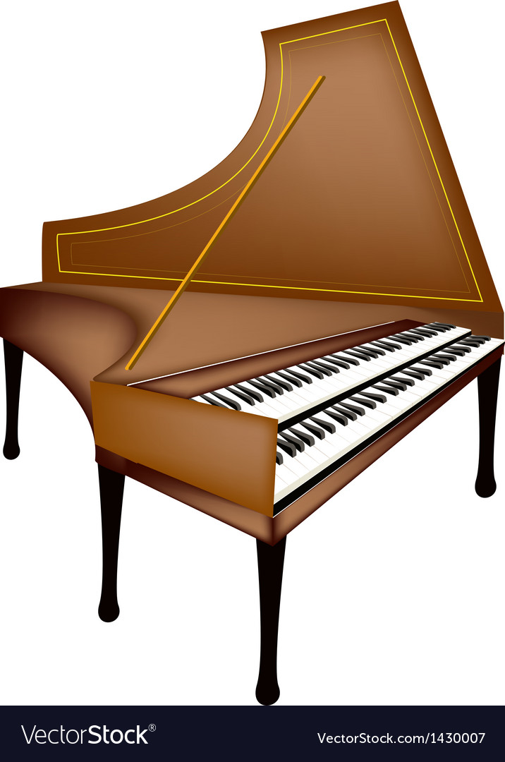 A retro harpsichord isolated on white background vector | Price: 1 Credit (USD $1)