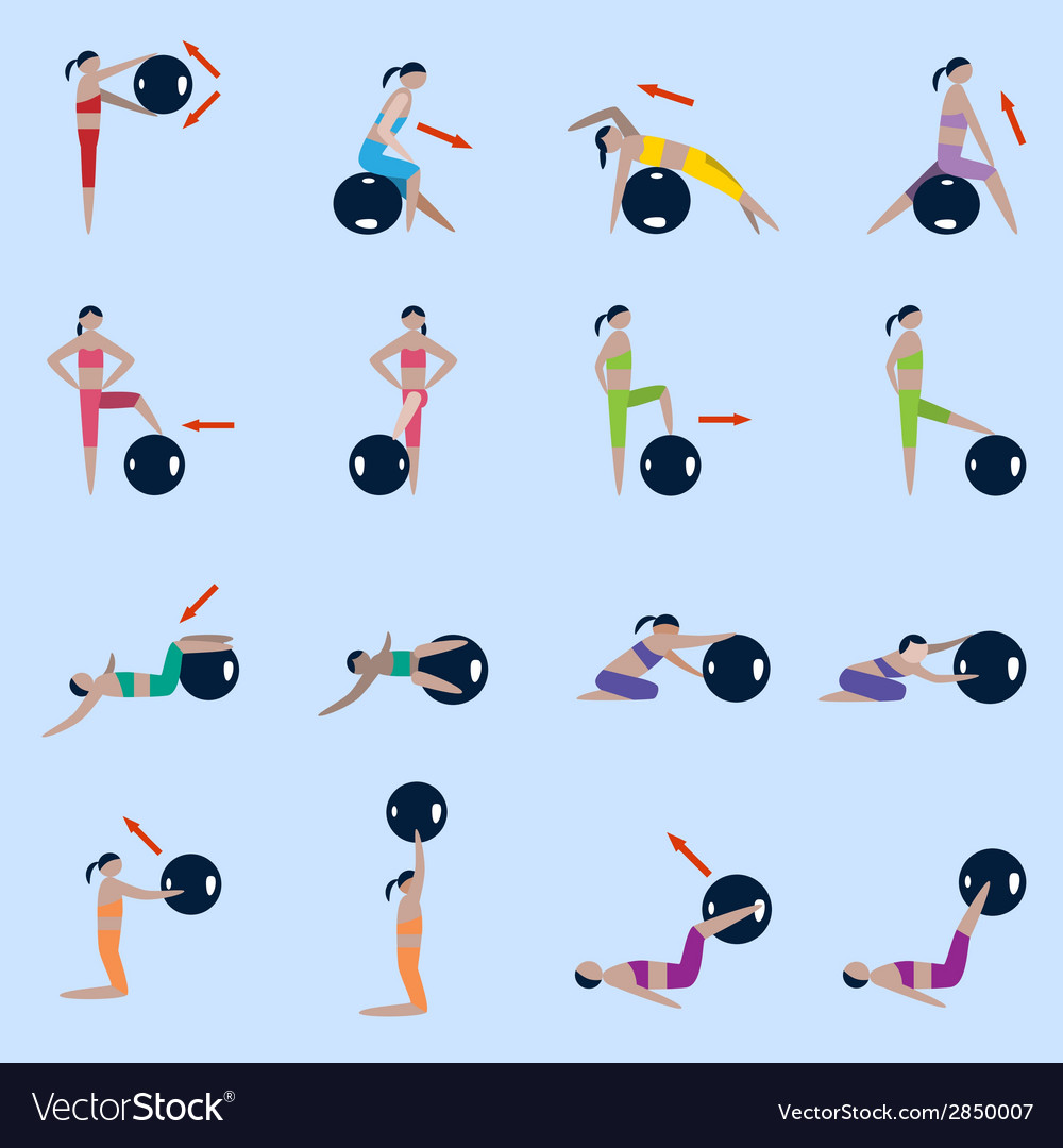 Fitness ball icons set vector | Price: 1 Credit (USD $1)