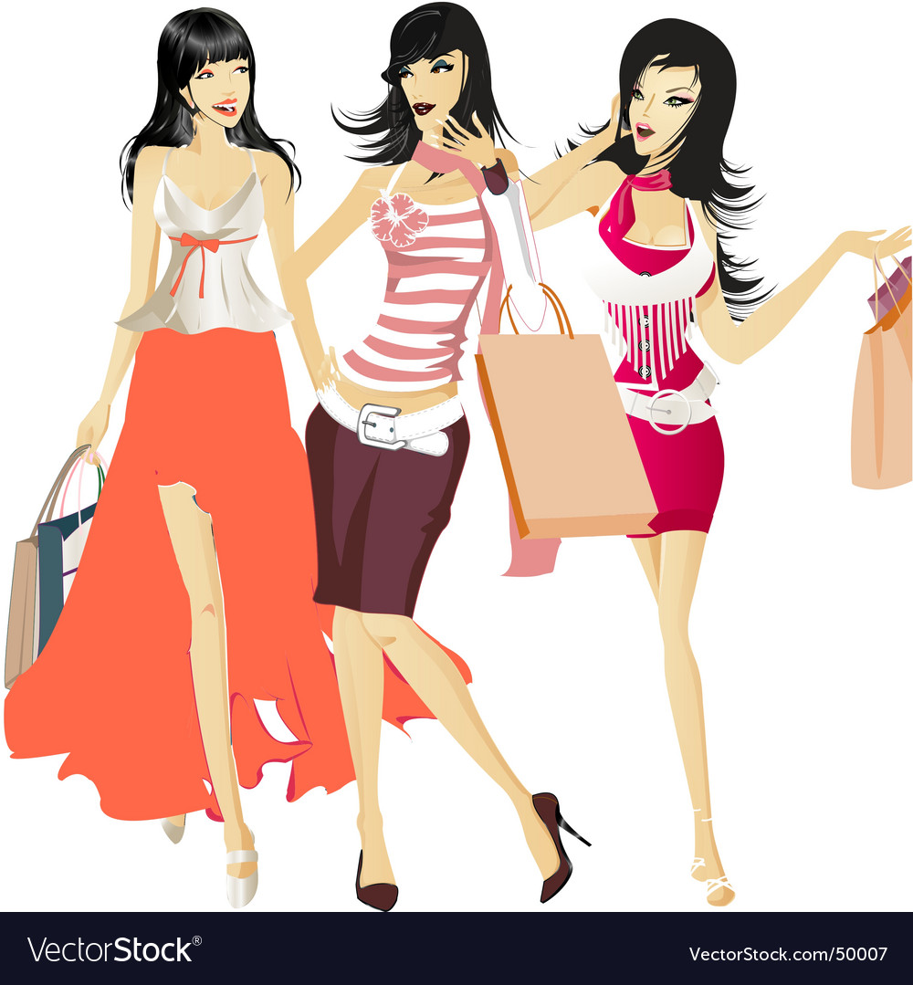 Shopping girls vector | Price: 10 Credit (USD $10)