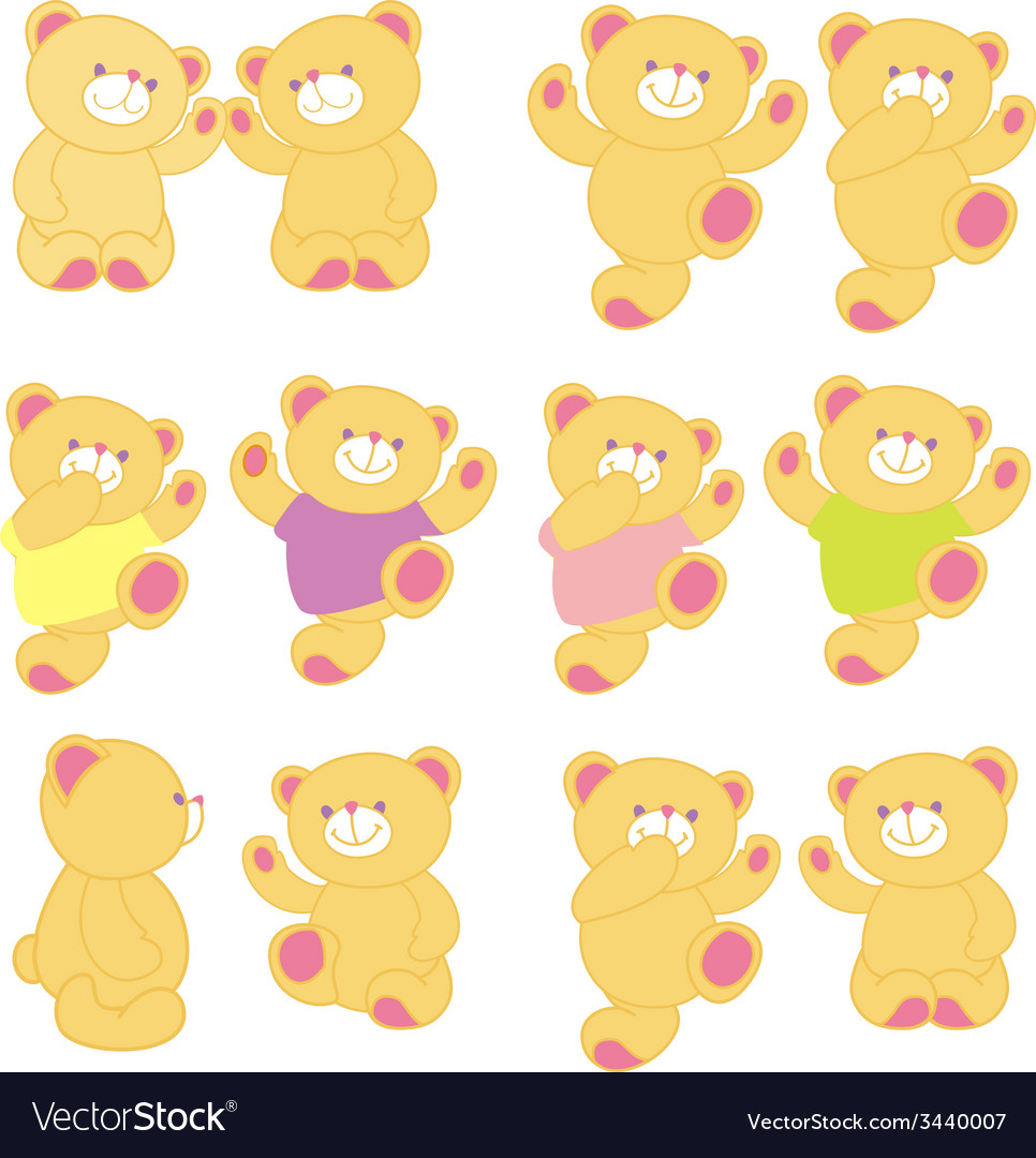 Teddy bear in different pose background vector | Price: 1 Credit (USD $1)