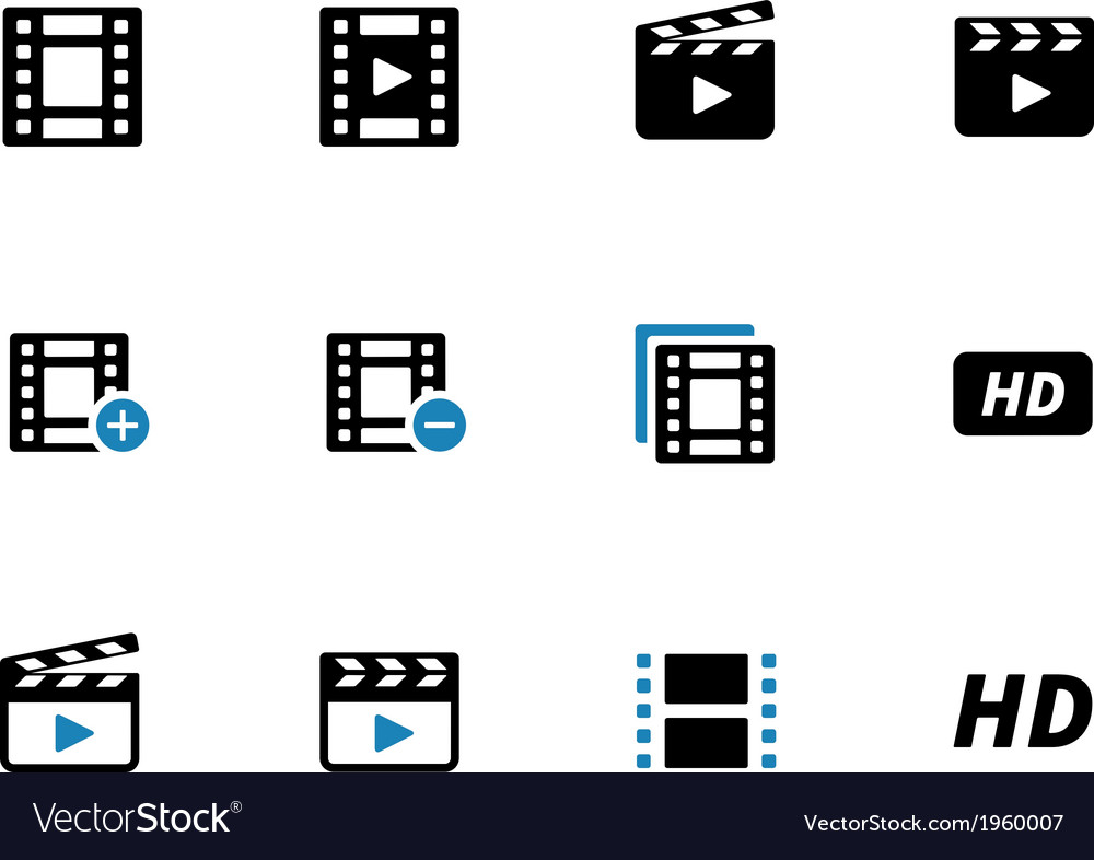 Video duotone icons on white background vector | Price: 1 Credit (USD $1)
