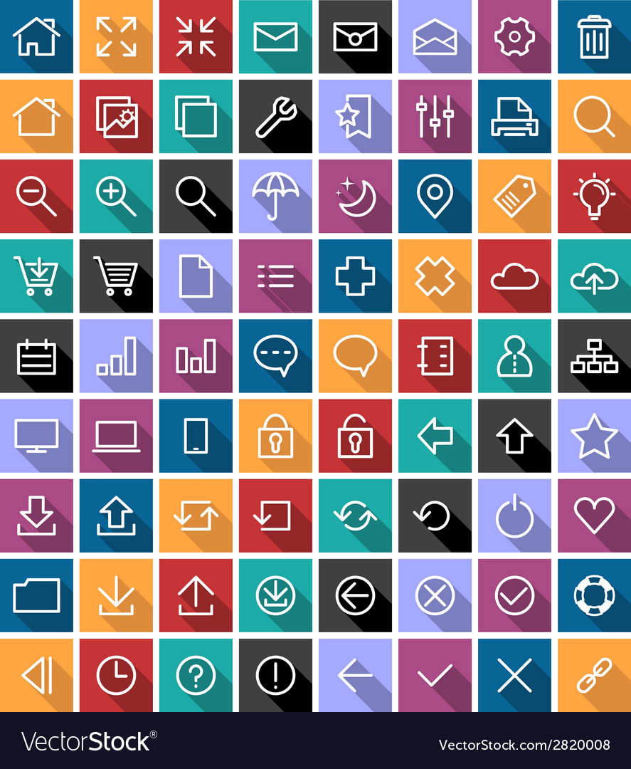 Flat line icons vector | Price: 1 Credit (USD $1)