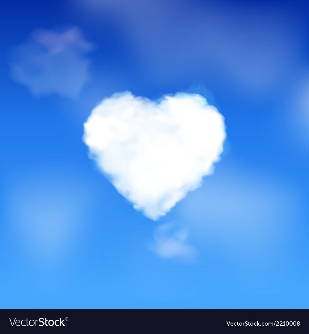 Heart cloud in a blue sky vector | Price: 1 Credit (USD $1)