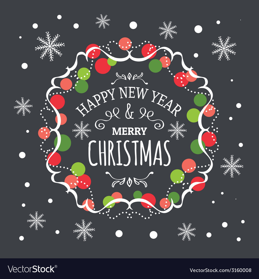 Inscription happy new year and merry christmas vector | Price: 1 Credit (USD $1)