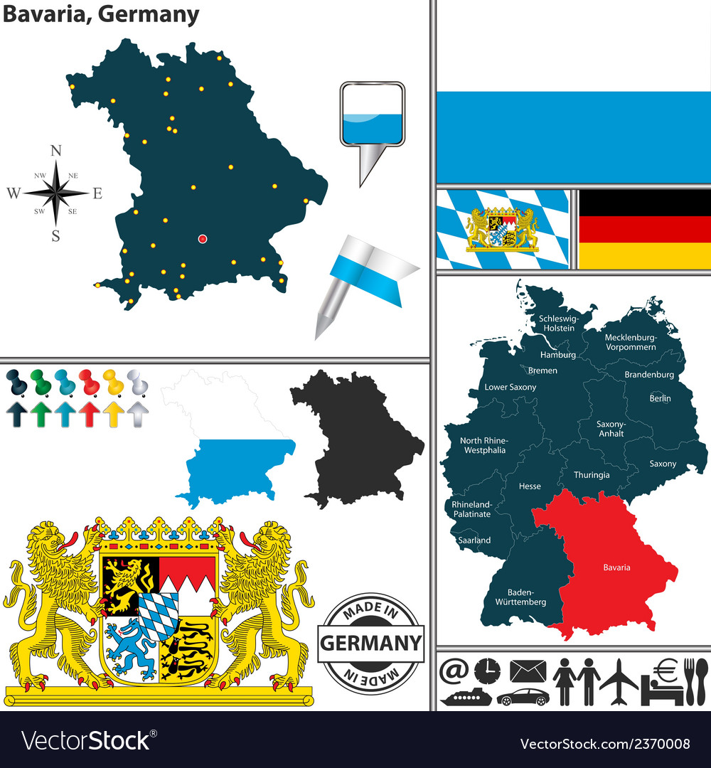 Map of bavaria vector | Price: 1 Credit (USD $1)