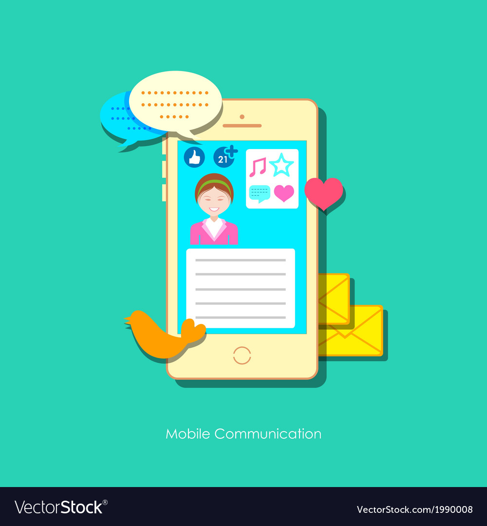 Mobile social media vector | Price: 1 Credit (USD $1)