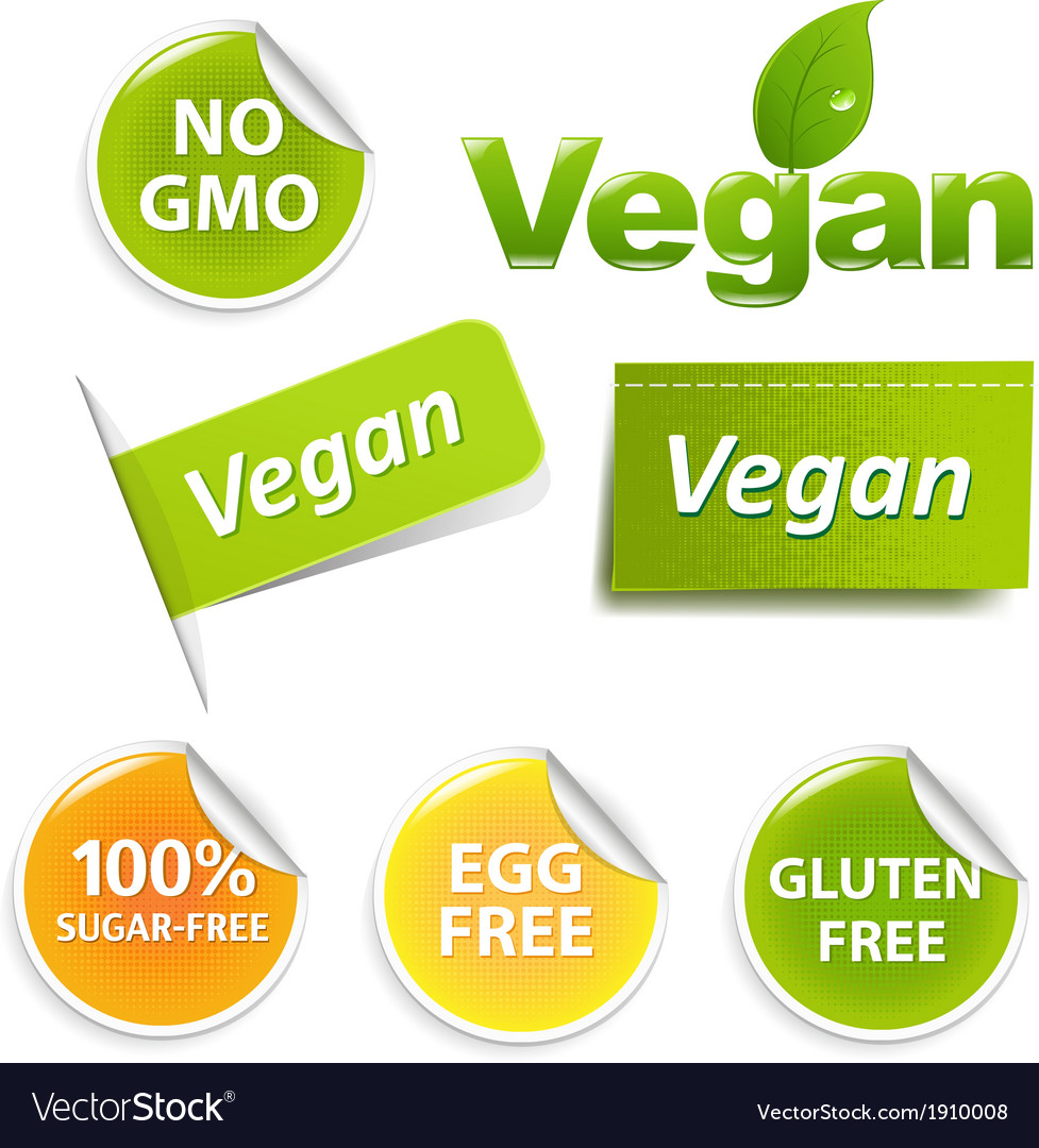 Vegan labels set vector | Price: 1 Credit (USD $1)