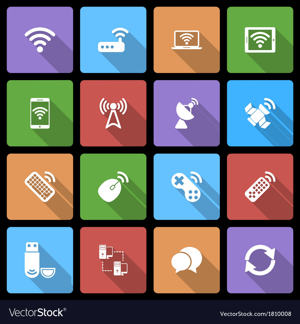 Wireless devices icons set with long shadow vector | Price: 1 Credit (USD $1)