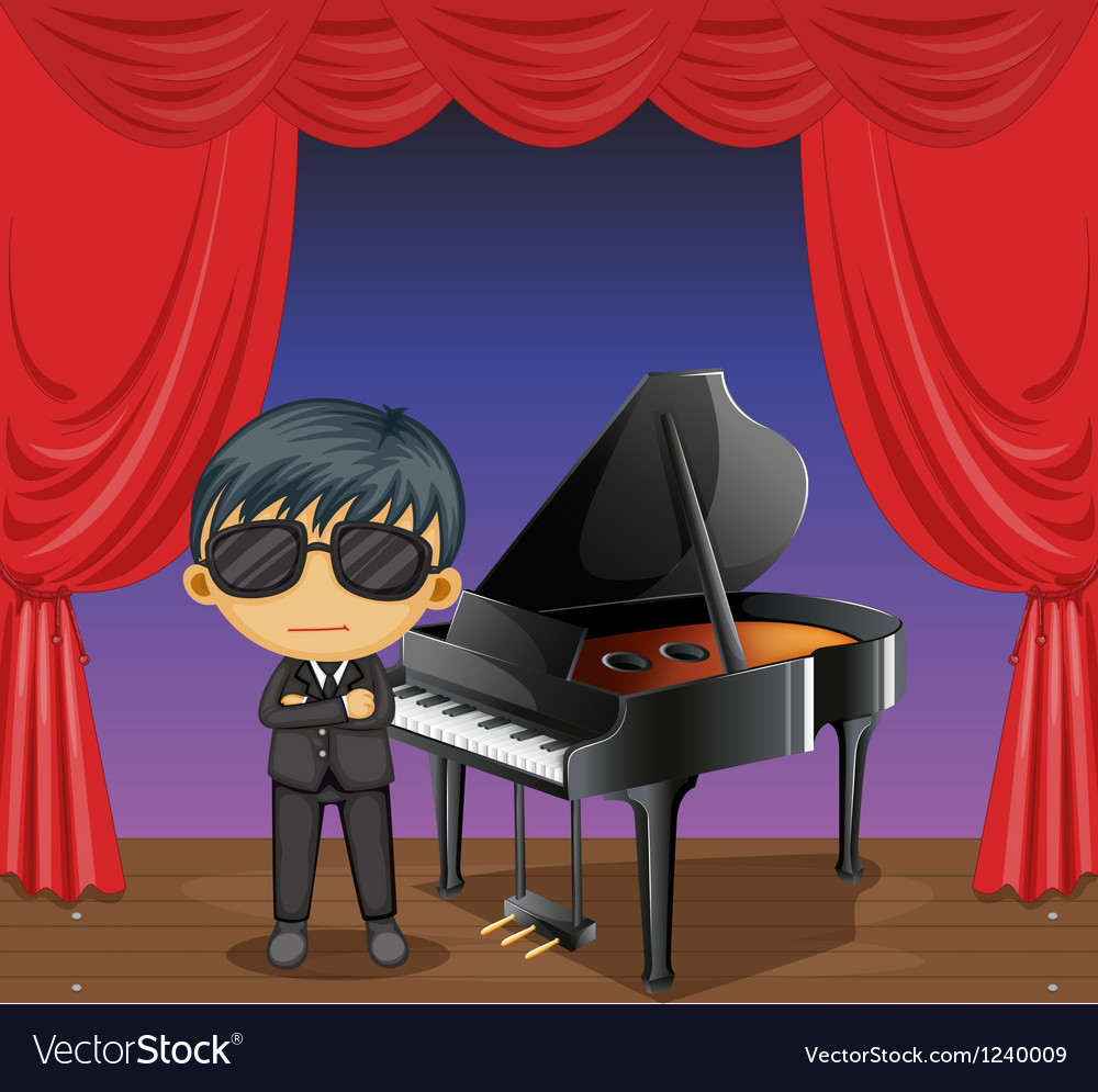 A piano with a pianist vector | Price: 1 Credit (USD $1)