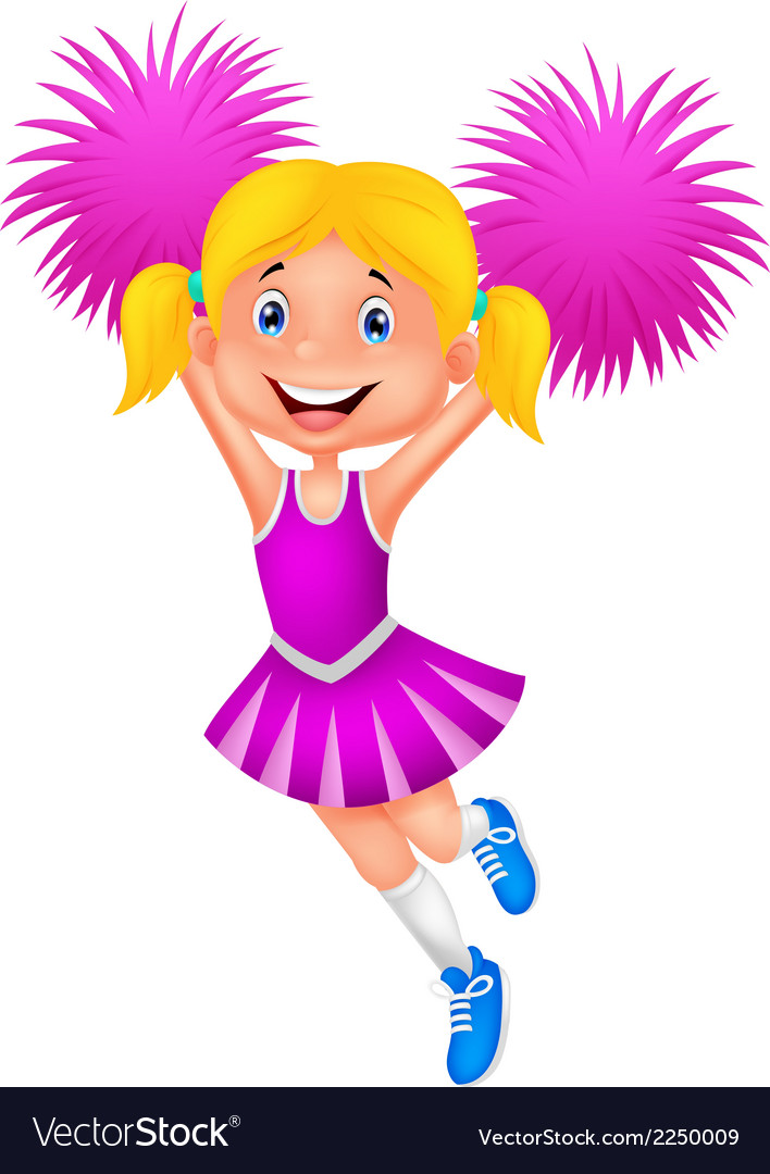 Cheerleader cartoon with pom poms vector | Price: 1 Credit (USD $1)