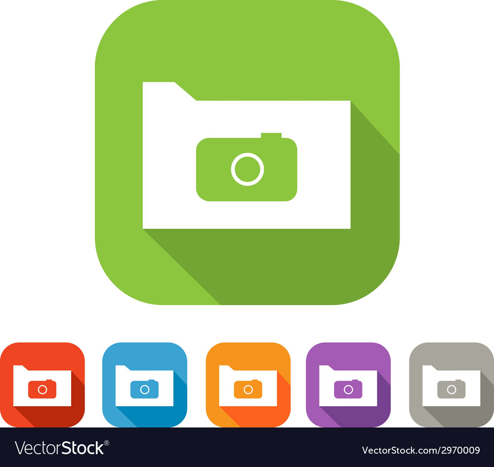 Color set of flat folder with camera vector | Price: 1 Credit (USD $1)